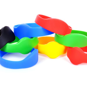 many color rfid bracelet on a white background